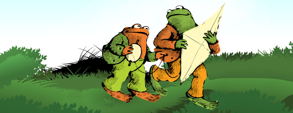 Toad and Frog together carry a kite and its string in an illustration depicting A Year With Frog and Toad.