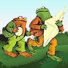 "Toad and Frog together carry a kite and its string in an illustration depicting ""A Year With Frog and Toad."""