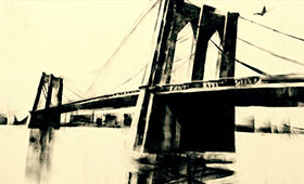 An artist's rendering of an historic bridge to New York City highlights a trailer for Darcy James Argue's Secret Society's Brooklyn Babylon.