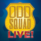 "An illustration of the TV show's official agent badge design promotes the live-action show ""Odd Squad Live!"""