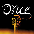 """Once"" written in a script font and an illustration of the head and fretboard of a guitar promote the Broadway musical."