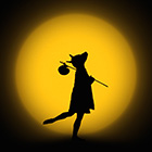 A promotional photo depicts the silhouette of a female dancer wearing a dog mask striking a pose in front of a moon-like light.