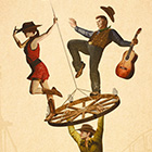 A cowgirl and guitarist balance atop a wagon wheel while a cowboy hangs from the wheel in an illustration.