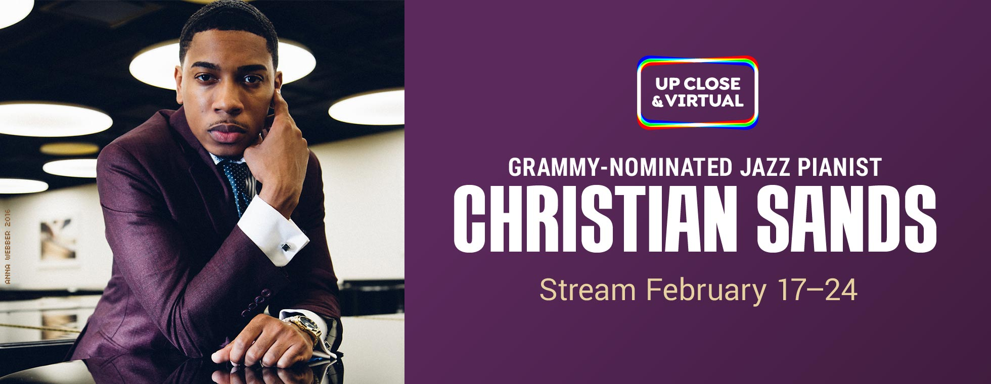 Grammy-nominated jazz pianist Christian Sands. Stream February 17–24, 2021.