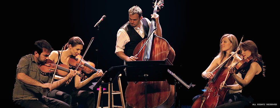 A male double bassist stands in the center of four sitting musicians as they play their stringed instruments.