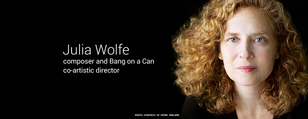 Julia Wolfe, composer and Bang on a Can All-Stars co-artistic director Julia Wolfe is photographed close up and with a serious look.