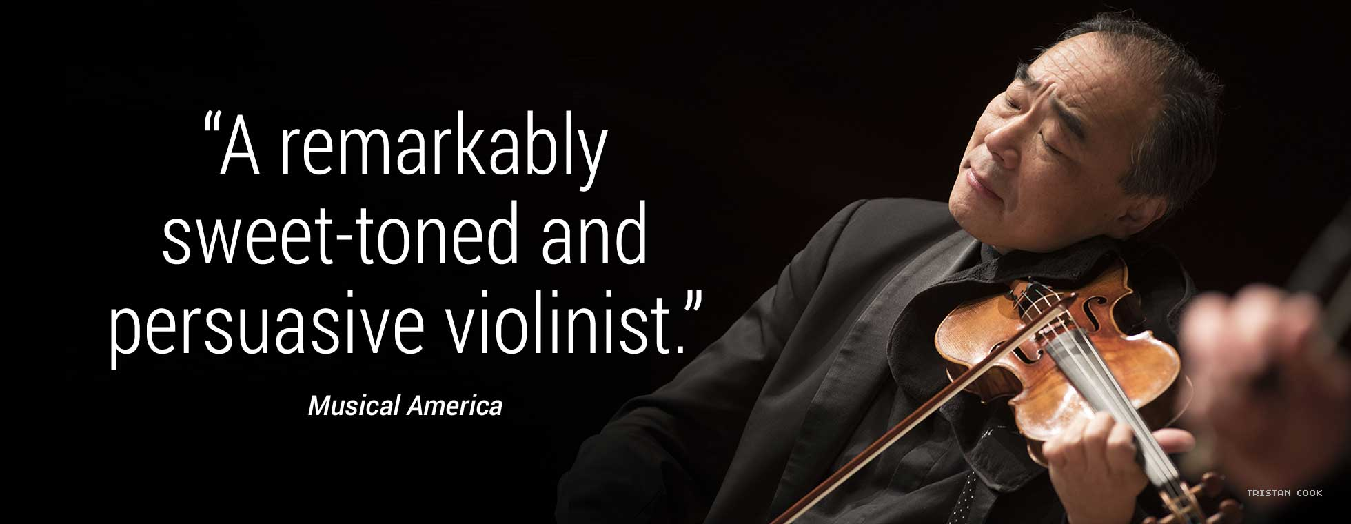 """Quote: """"A remarkably sweet-toned and persuasive violinist."""" - Musical America"""
