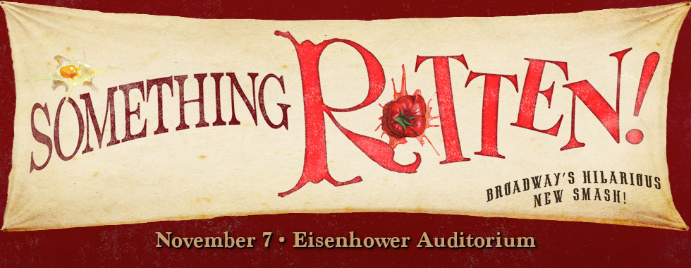 "A smashed egg and tomato are featured on illustrated type treatment for the production title ""Something Rotten."""