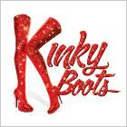 "A pair of above-the-knee heeled boots make up the ""K"" in an illustrated logo for ""Kinky Boots."""