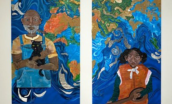 Two pieces of artwork hang on a wall. Left: an elderly Black man holds a cat. Right: a Blak girl holds a string instrument. The continent of Africa is painted behind the two figures.