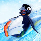 A penguin puppet slides down an illustrated iceberg.