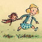 In an illustration, a girl in pigtails drags her toy monkey behind her.