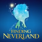 "A silhouette of a boy's head filled with stars and another smaller silhouette of a London cityscape and two people lovingly facing each other is featured in a promotional illustration for ""Finding Neverland."""