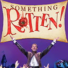"A smashed tomato fills in for the ""O"" in a type treatment for ""Something Rotten!"""